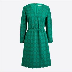 J Crew green cotton eyelet dress